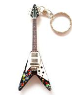 "Jimi Hendrix Psychedelic Fly V 4"" Miniature Guitar Fridge Magnet & Keychain"