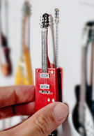 "Rock and Roll History V15 Bo Diddley Red Cigar Box 4"" Miniature Guitars with Magnet Visual Compendium of Guitar"
