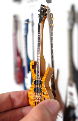 """Rock and Roll History V37 Les Claypool Primus Scroll Bass 4"""" Miniature Guitar with Magnet Visual Compendium of Guitar"""