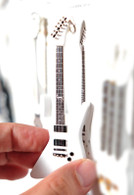 "Rock and Roll History V59 James Het Metal White Explor 4"" Miniature Guitar with Magnet Visual Compendium of Guitar"