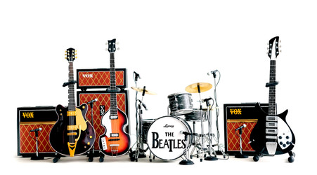 The Beatles Miniature Guitar Ed Sullivan Set of 4 Guitar, Drums and Amp with 8 mini Mics