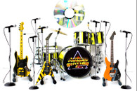 "Officially Licensed STRYPER "" God Damn Evil"" Miniature Guitar Bass and Drums Set of 4 with Mics Collectible Super Mini"