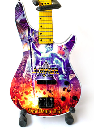 """Officially Licensed STRYPER """"God Damn Evil"""" Album Cover Perry Richardson Bass Guitar Miniature Collectible"""