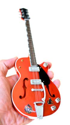 Brian Setzer Miniature Guitar Replica Collectible Stray Cats Red Setzer Signature