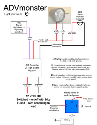 Remended    wiring       diagram    with    LED    controller  ADVmonster