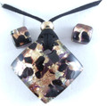 Black Copper Gold Murano Glass Necklace & Earrings Jewelry Set SKU 3MG