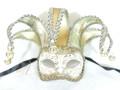 Gold Cream Colombina Jolly Stoffa Venetian Mask SKU 325jgc