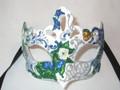 White & Blue Deco Primavera Venetian Mask SKU 012ZW