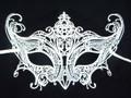 White Glitter Laser Cut Venetian Masquerade Mask SKU 014Z