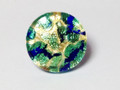Aqua Blue Gold Murano Glass Venetian Ring Jewelry SKU 22MG