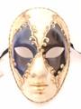 Blue Black Gold Volto Asso Venetian Masquerade Mask SKU 082ablg