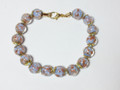 Lavender Clear Gold Murano Glass Bead Venetian Bracelet Jewelry SKU 38MG
