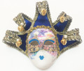 Royal Blue Brocade Jollini Miniature Ceramic Venetian Mask SKU P124