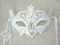 White Laser Cut Venetian Mask SKU 524W