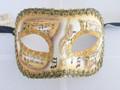 Yellow Colombina Pergamena/Gold Trim Venetian Mask SKU 026