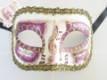 Purple Colombina Pergamena/Gold Trim Venetian Mask SKU 026