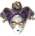 Purple  Ceramic Miniature Jester Jollini Venetian Mask SKU P124