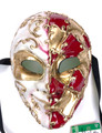 Creme and Red Joker Mamo Venetian Masquerade Mask SKU 174