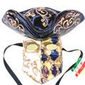 Blue Gold Casanova Mamo Venetian Mask. SKU 171