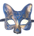 Blue Gold Cat Gatto Star Venetian Masquerade Cat Mask SKU 69