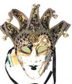 Black Gold Joker Venezia Punte Maxi Venetian Masquerade Mask SKU 382