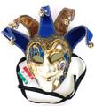 Blue Gold Joker Venezia Punte Maxi Venetian Masquerade Mask SKU 382
