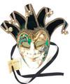 Green Gold Joker Venezia Punte Maxi Venetian Masquerade Mask SKU 382