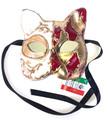 Red Gold Gatto Mamo Venetian Masquerade Cat Mask SKU 061