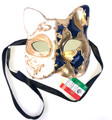 Dark Blue Gold Gatto Mamo Venetian Masquerade Cat Mask SKU 061
