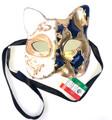 Dark Blue Gold Gatto Mamo Venetian Masquerade Cat Mask SKU 061
