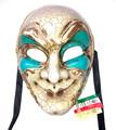 Turquoise Joker Kre Venetian Masquerade Mask SKU 180
