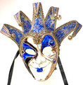 Blue Gold Joker Decoro Punte Maxi Venetian Masquerade Mask SKU N488