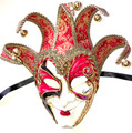 Red Gold Joker Decoro Punte Maxi Venetian Masquerade Mask SKU N488