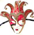 Red Gold Joker Decoro Punte Maxi Venetian Masquerade Mask SKU N488