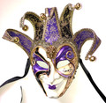 Purple Gold Joker Decoro Punte Maxi Venetian Masquerade Mask SKU N488