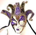 Purple Gold Joker Decoro Punte Maxi Venetian Masquerade Mask SKU N488