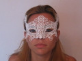 White Colombina Punta Burano Macrame  Venetian Mask. SKU 041mw
