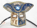 Blue Casanova Night and Day Venetian Masquerade Mask SKU 172ndbl