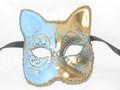 Light Blue Gatto Lillo Venetian Masquerade Cat Mask SKU 062llbl