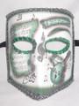Green Music Bauta Pergamena Venetian Masquerade Mask SKU 117pgr