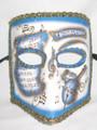 Blue Gold Music Bauta Pergamena Venetian Masquerade Mask SKU 117pblg