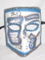 Blue Silver Music Bauta Pergamena Venetian Masquerade Mask SKU 117pbls