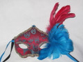 Burgundy and Turquoise Fabric Paper Mache Venetian Feather Mask  SKU 6F