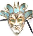 Joker Punte Sinfonia Light Blue Venetian Masquerade Mask SKU 381jblu