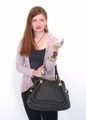Black Leather Italian Luxury Shoulder Bag Handbag by Besso B15