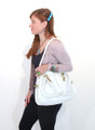 White Leather Italian Luxury Shoulder Bag Handbag by Besso B15