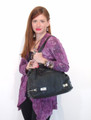 Black Leather Italian Luxury Handbag Purse Tote by Besso B21