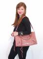 Salmon Pink Leather Luxury Italian Motorcycle Handbag Tote Purse by Bruno B18