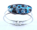 Blue Black Silver Murano Glass Venetian Metal Bracelet Jewelry SKU 25MG