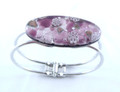 Purple Silver Murano Glass Venetian Metal Bracelet Jewelry SKU 25MG